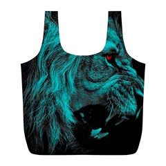 Angry Male Lion Predator Carnivore Full Print Recycle Bag (l)
