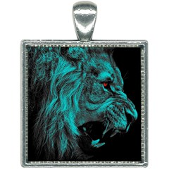 Angry Male Lion Predator Carnivore Square Necklace