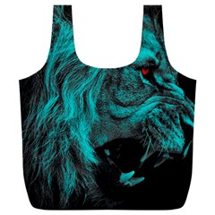 Angry Male Lion Predator Carnivore Full Print Recycle Bag (xxl)