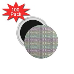I Love Vintage Phrase Motif Striped Pattern Design 1 75  Magnets (100 Pack)  by dflcprintsclothing