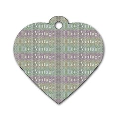 I Love Vintage Phrase Motif Striped Pattern Design Dog Tag Heart (one Side) by dflcprintsclothing
