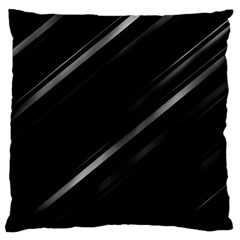 Minimalist Black Linear Abstract Print Large Flano Cushion Case (two Sides) by dflcprintsclothing