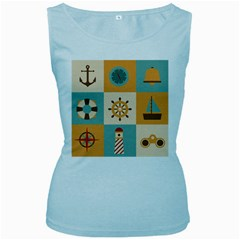 Nautical Elements Collection Women s Baby Blue Tank Top