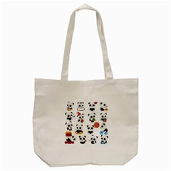 Playing Pandas Cartoons Tote Bag (cream)