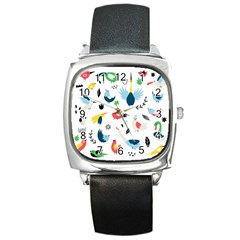 Vector Set Isolates With Cute Birds Scandinavian Style Square Metal Watch