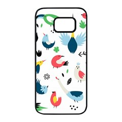 Vector Set Isolates With Cute Birds Scandinavian Style Samsung Galaxy S7 Edge Black Seamless Case by Vaneshart