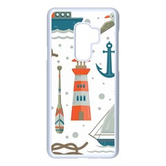 Nautical Elements Pattern Background Samsung Galaxy S9 Plus Seamless Case(white)