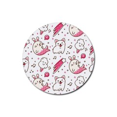 Cute Animals Seamless Pattern Kawaii Doodle Style Rubber Round Coaster (4 Pack)