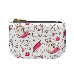 Cute Animals Seamless Pattern Kawaii Doodle Style Mini Coin Purse