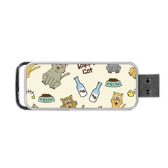 Happy Cats Pattern Background Portable Usb Flash (two Sides)