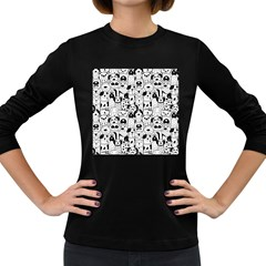 Seamless Pattern With Black White Doodle Dogs Women s Long Sleeve Dark T Shirt