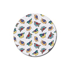 Seamless Pattern With Hand Drawn Bird Black Rubber Round Coaster (4 Pack)