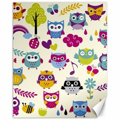Funny Colorful Owls Canvas 11  X 14
