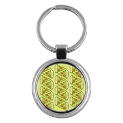 Pizza Fast Food Pattern Seamles Design Background Key Chain (round)