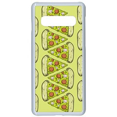Pizza Fast Food Pattern Seamles Design Background Samsung Galaxy S10 Seamless Case(white)