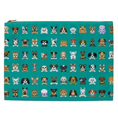 Different Type Vector Cartoon Dog Faces Cosmetic Bag (xxl)