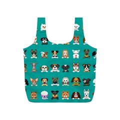 Different Type Vector Cartoon Dog Faces Full Print Recycle Bag (s)