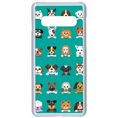 Different Type Vector Cartoon Dog Faces Samsung Galaxy S10 Seamless Case(white)