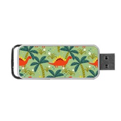 Cute Colorful Dinosaur Seamless Pattern Portable Usb Flash (one Side)