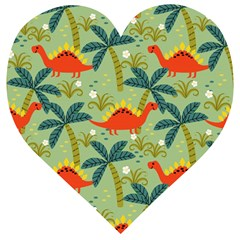 Cute Colorful Dinosaur Seamless Pattern Wooden Puzzle Heart