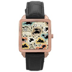 Seamless Pattern With Dinosaurs Silhouette Rose Gold Leather Watch  by Vaneshart