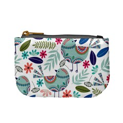 Floral Pattern With Birds Flowers Leaves Dark Background Mini Coin Purse