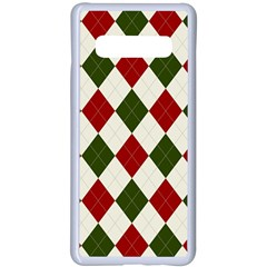 Christmas Argyle Pattern Samsung Galaxy S10 Plus Seamless Case(white)