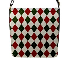 Christmas Argyle Pattern Flap Closure Messenger Bag (l) by Sobalvarro