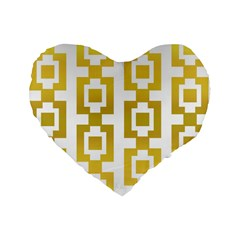Gold Square Pattern  Arvin61r58 Standard 16  Premium Heart Shape Cushions by Sobalvarro