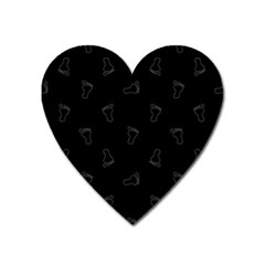 Neon Style Black And White Footprints Motif Pattern Heart Magnet by dflcprintsclothing