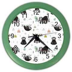 Cute Sloths Color Wall Clock by Sobalvarro