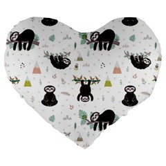 Cute Sloths Large 19  Premium Heart Shape Cushions by Sobalvarro