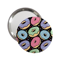 Colorful Donut Seamless Pattern On Black Vector 2 25  Handbag Mirrors by Sobalvarro