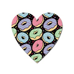 Colorful Donut Seamless Pattern On Black Vector Heart Magnet by Sobalvarro