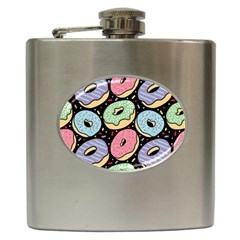 Colorful Donut Seamless Pattern On Black Vector Hip Flask (6 Oz) by Sobalvarro