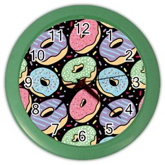 Colorful Donut Seamless Pattern On Black Vector Color Wall Clock by Sobalvarro