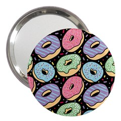 Colorful Donut Seamless Pattern On Black Vector 3  Handbag Mirrors by Sobalvarro