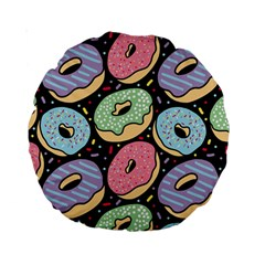 Colorful Donut Seamless Pattern On Black Vector Standard 15  Premium Round Cushions by Sobalvarro