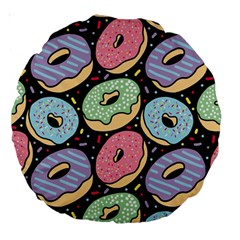 Colorful Donut Seamless Pattern On Black Vector Large 18  Premium Round Cushions by Sobalvarro