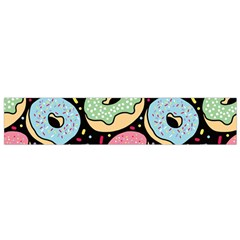 Colorful Donut Seamless Pattern On Black Vector Small Flano Scarf by Sobalvarro