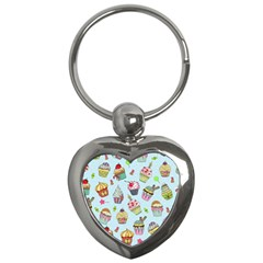 Cupcake Doodle Pattern Key Chain (heart) by Sobalvarro