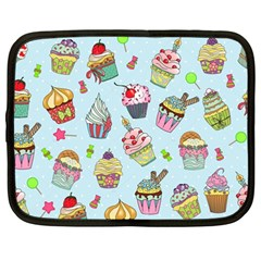 Cupcake Doodle Pattern Netbook Case (large) by Sobalvarro