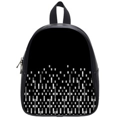 Black And White Matrix Patterned Design School Bag (small) by dflcprintsclothing