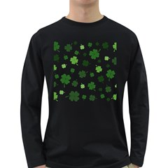 St Patricks Day Pattern Long Sleeve Dark T Shirt