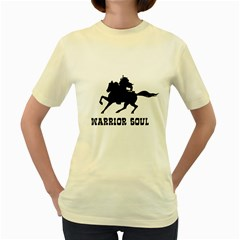 Warrior Soul Graphic Silhouette Concept Illustration Women s Yellow T-shirt by dflcprintsclothing