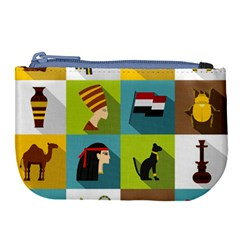 Egypt Travel Items Icons Set Flat Style Large Coin Purse by Wegoenart