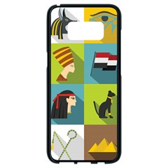 Egypt Travel Items Icons Set Flat Style Samsung Galaxy S8 Black Seamless Case