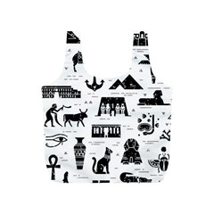 Dark Seamless Pattern Symbols Landmarks Signs Egypt Full Print Recycle Bag (s) by Wegoenart