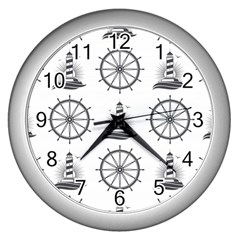 Marine Nautical Seamless Pattern With Vintage Lighthouse Wheel Wall Clock (silver) by Wegoenart