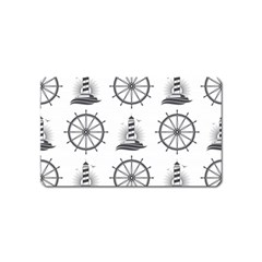 Marine Nautical Seamless Pattern With Vintage Lighthouse Wheel Magnet (name Card)